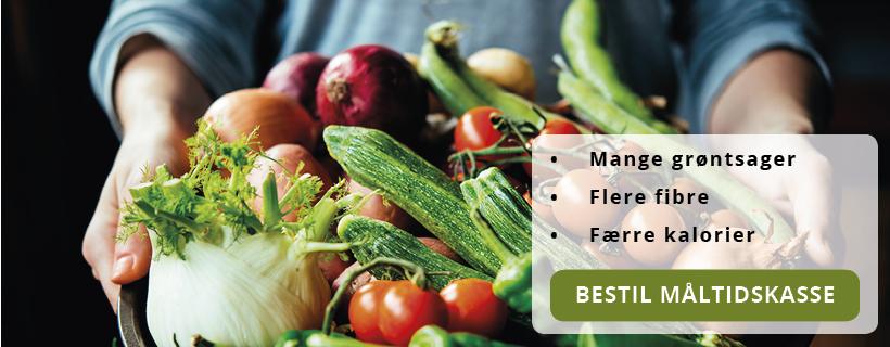 Sund måltidskasse fyldt med farverige grøntsager